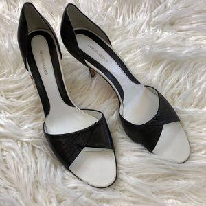 GIORGIO ARMANI black white leather open heels